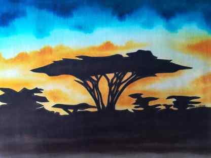 Title Acacia At Sunset. Artist Nuwa Wamala Nnyanzi. Medium Batik. Code NWN0122015
