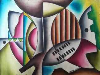 Title African Defence. Artist Nuwa Wamala Nnyanzi. Medium Batik. Code NWN0242005