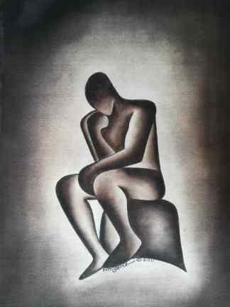 Title Cogitative Posture . Artist Nuwa Wamala Nnyanzi. Medium Batik. Code NWN0202011