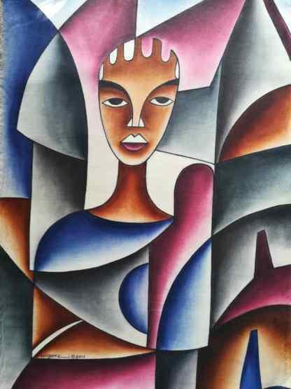 Title Dealing With Womanhood. Artist Nuwa Wamala Nnyanzi. Medium Batik. Code NWN0322011