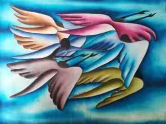 Title Divine Messengers. Artist Nuwa Wamala Nnyanzi. Medium Batik. Code NWN0202008