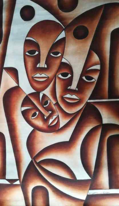 Title Family Eyes. Artist Nuwa Wamala Nnyanzi. Medium Batik. Code NWN0332011