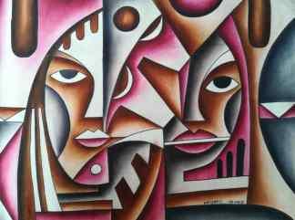 Title Friendly Neighbor. Artist Nuwa Wamala Nnyanzi. Medium Batik.