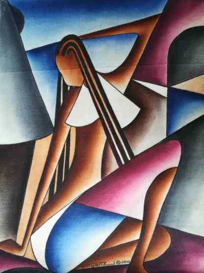 Title Looking Down. Artist Nuwa Wamala Nnyanzi. Medium Batik. Code NWNWEB0 482012