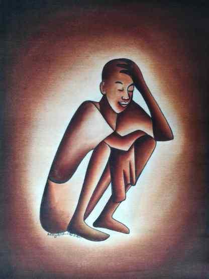 Title Strategizing. Artist Nuwa Wamala Nnyanzi. Medium Batik. Code NWN0212011