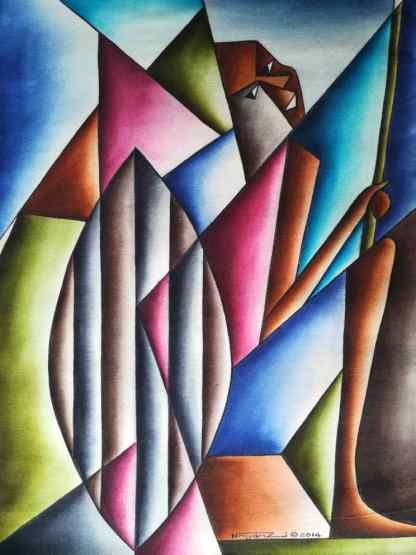 Title The Royal Guard.. Artist Nuwa Wamala Nnyanzi. Medium Batik. Code NWN0042014