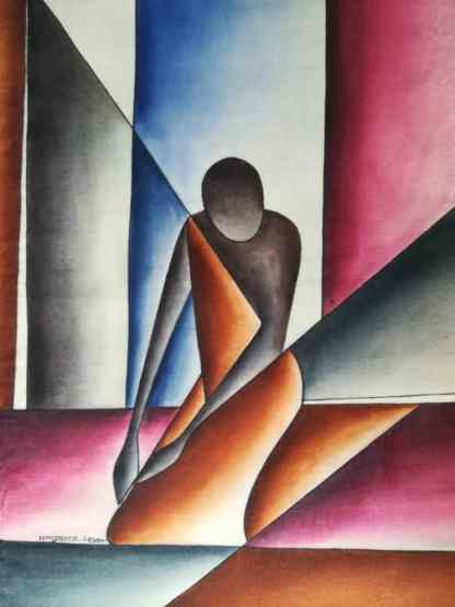 Title Throne Minder. Artist Nuwa Wamala Nnyanzi. Medium Batik. Code NWNWEB0022011