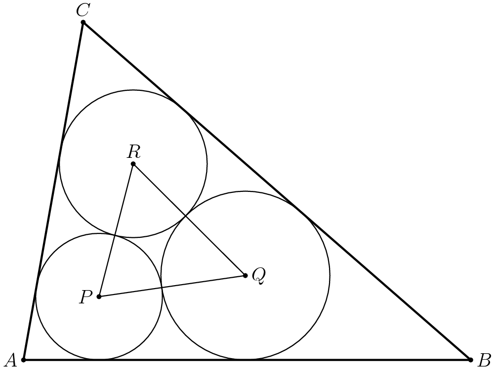 Three Circles in a Triangle: A Solution