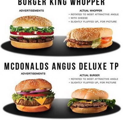 smashed whopper burger vs advertisement