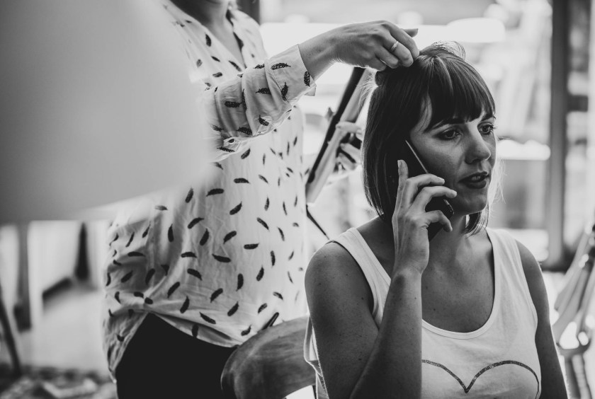 Bride on the phone