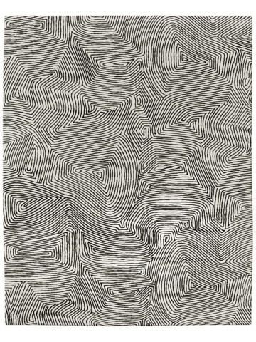 Maze in Black on Cream, 9 ft. x 12 ft.