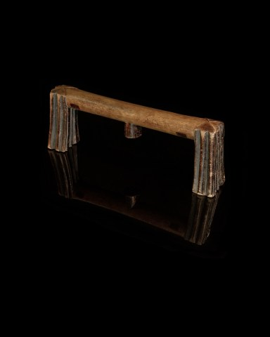 Headrest, South Africa, Original in form and style, Honey color wood with black undertones.