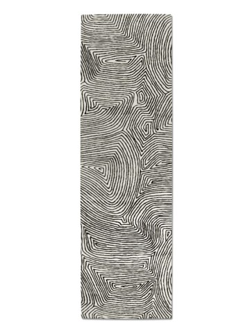 Maze in Black on Cream, 3 ft. x 10 ft.