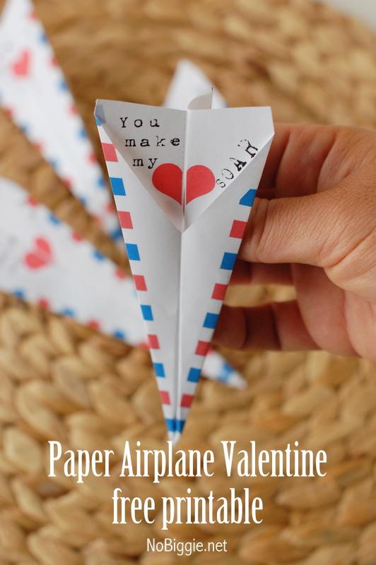 free printable paper airplane Valentine - NoBiggie.net