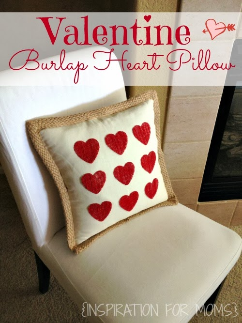 no-sew burlap valentine heart pillow - 25+ Valentine's Day Home Decor Ideas - NoBiggie.net