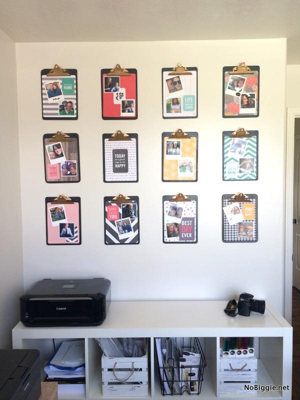 DIY clipboard photo wall