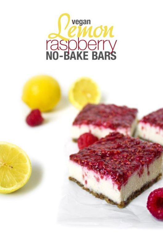 Vegan Lemon Raspberry No-Bake Bars | 25+ Gluten Free and Dairy Free Desserts