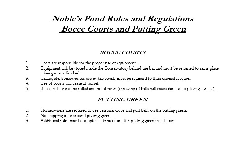 Bocce and Putting rules