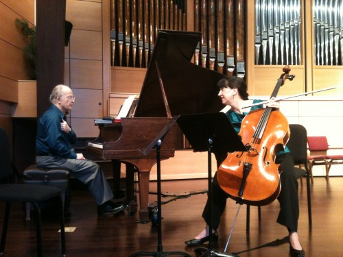 Principal cellist Nancy Ives and pianist Cary Lewis warm up before the concert.