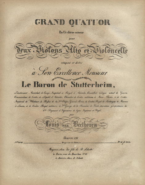 Op. 131 first edition cover page