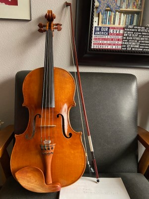 my viola on a chair