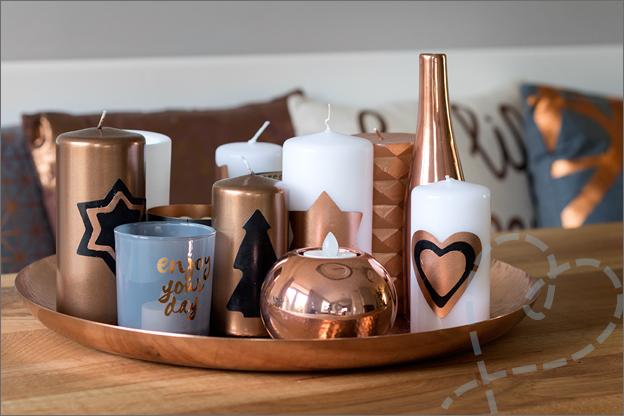 kerstschaal goud kaarsen kerstdecoratie