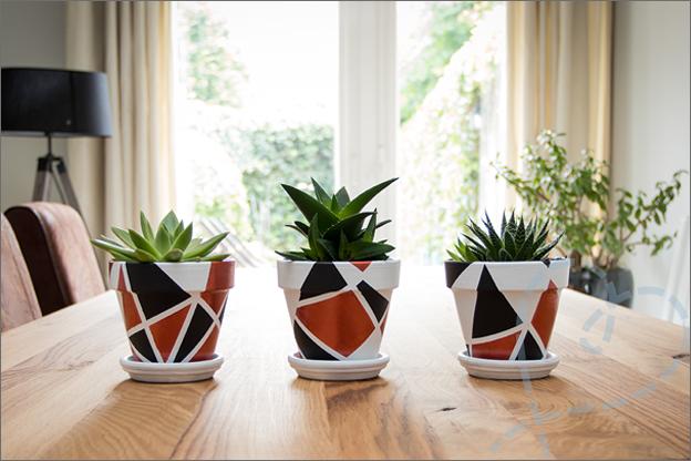 DIY bloempotjes verven en versieren in huis