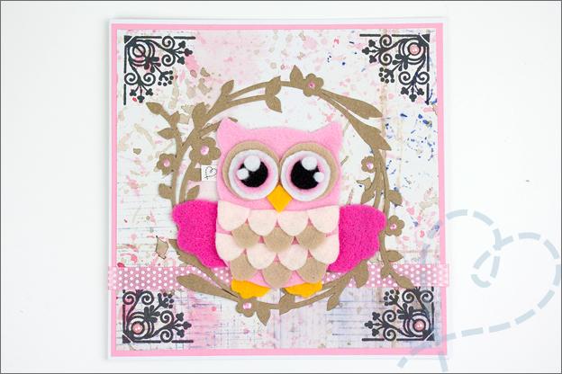 romantische kaart mixed media uil roze knutselen