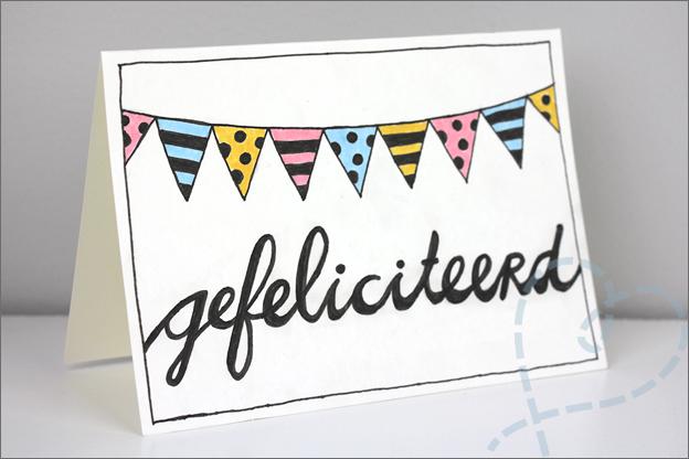 Handlettering kaart schrijven gefeliciteerd