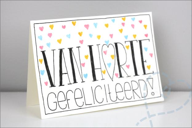 Handletteren kaart schrijven van harte