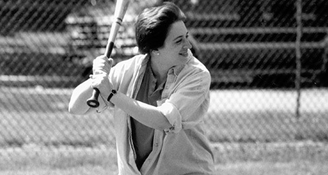 Elena Kagan playing softball