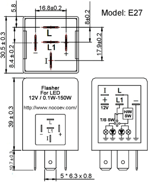 EP27 12V Automotive Hazard Warning & Turn Signal Flasher