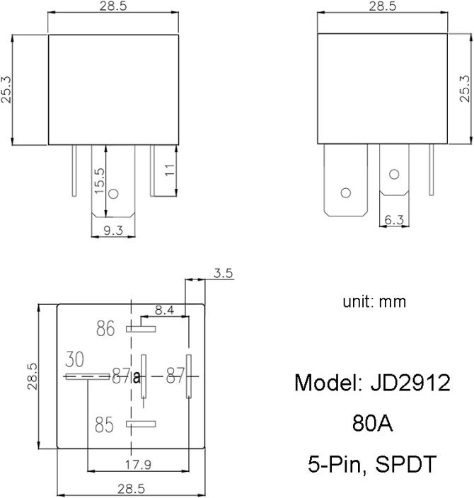 jd291280a  5pin spdt bosch type automotive dc relay