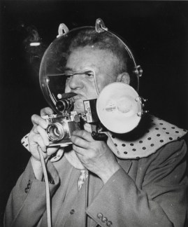 Weegee - Self-Portrait as Spaceman at Circus. © Weegee/International Center of Photography/Getty Images