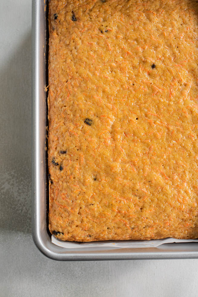 top down view of carrot cake in the pan