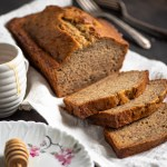 45 degree view of sliced classic banana bread