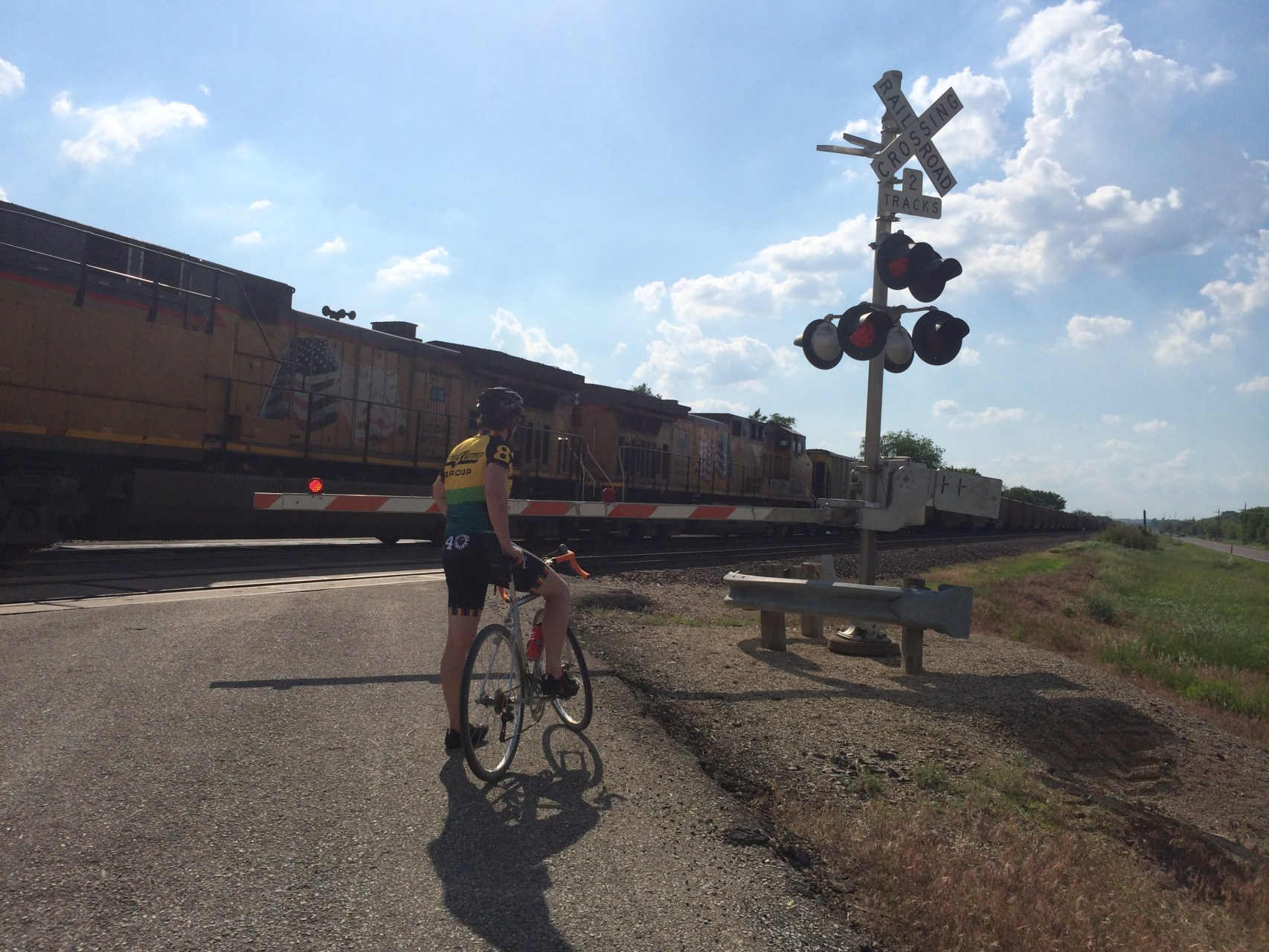 Shakedown ride encounters a long train. Long. Long. Long.