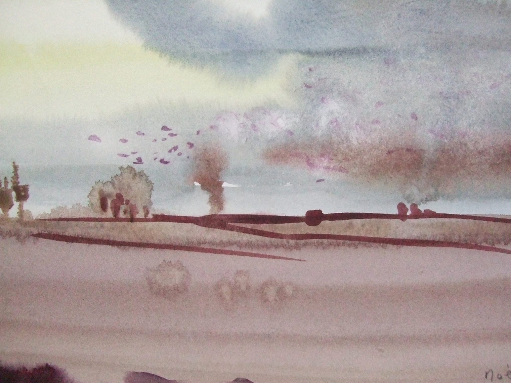 Rooks Returning at Evening ,watercolour,20 x 30cm,2014