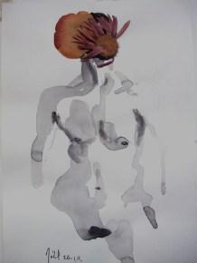 Flowerfolk, ink and dried flowers, 2011, 30 x 20cms
