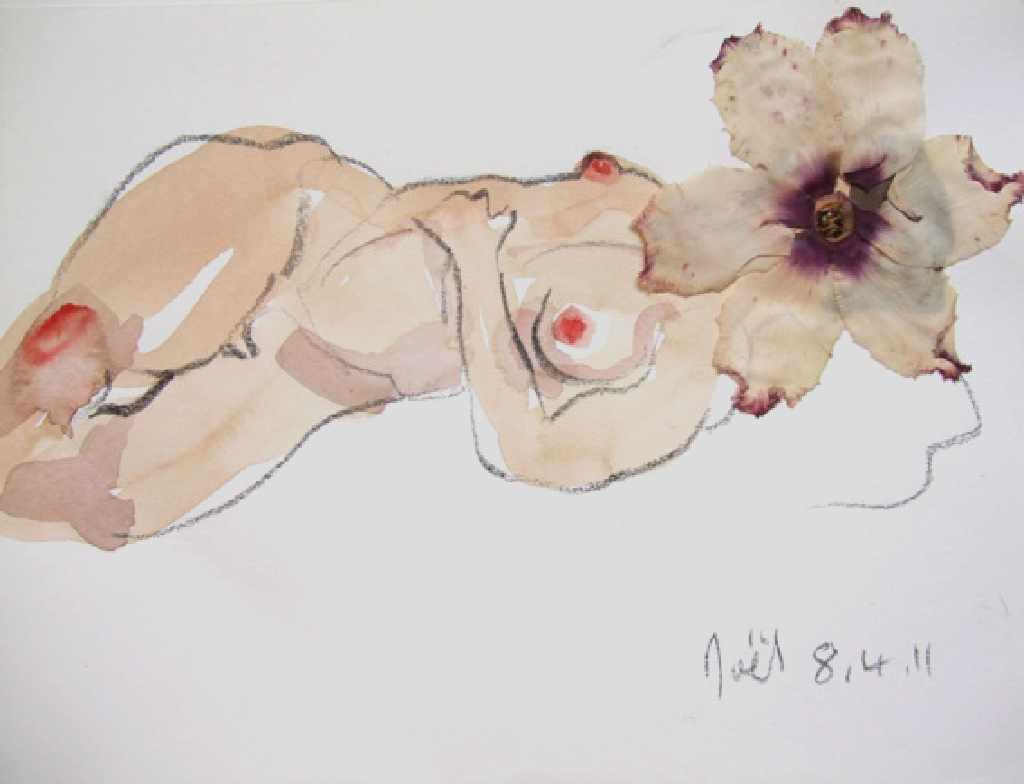 Flowergirl, watercolour, graphite and dried flower, 2011