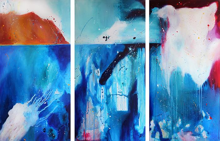 Noel Gazzano (2013) Il Primo Tuffo (And Then I Dove, tryptich). Acrylic on canvas, 120x180 cm