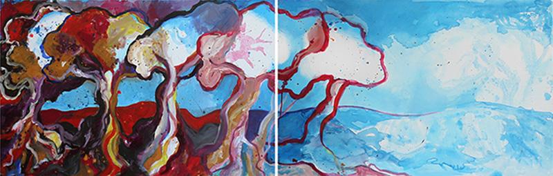 Noel Gazzano (2013) Gli Ulivi Vivi (Live Olives, dyptich). Acrylic on canvas, 70x200 cm