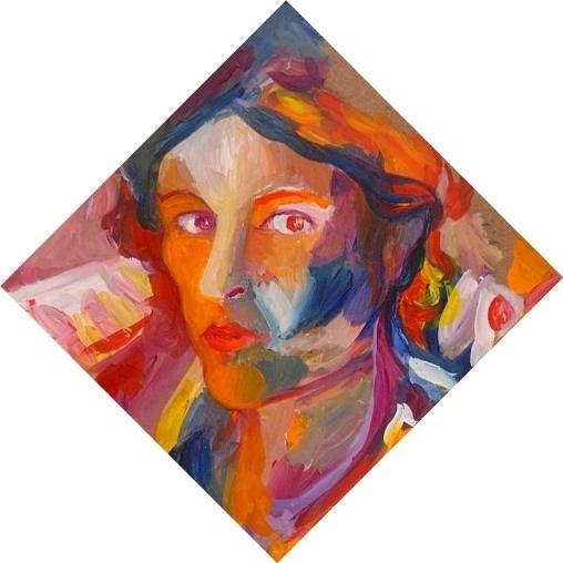 Noel Gazzano (2011) Autoritratto-Le Colonne di De Chirico. Mixed media on board, 30x30 cm