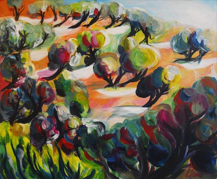 Noel Gazzano (2009) Dopo-La Collina degli Ulivi. Mixed media on board, 50x70 cm