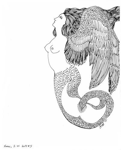 14Noel Gazzano (2015) Le Sirene del Bosco (series). Ink on paper, varying dimensions.
