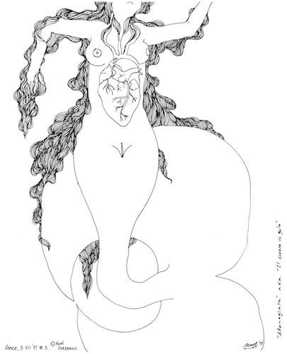 Noel Gazzano (2015) Le Sirene del Bosco (series). Ink on paper, varying dimensions.