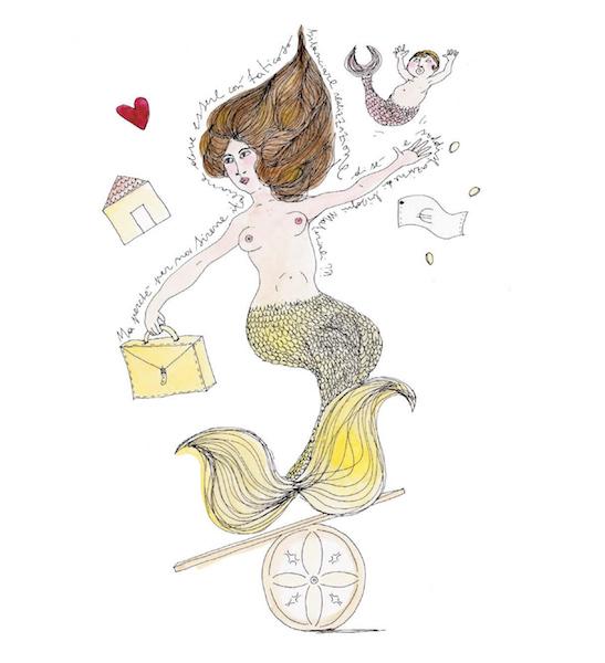 Noel Gazzano (2014) Un Anno da Sirene - A Mermaid Year (March). Ink and watercolor on paper.