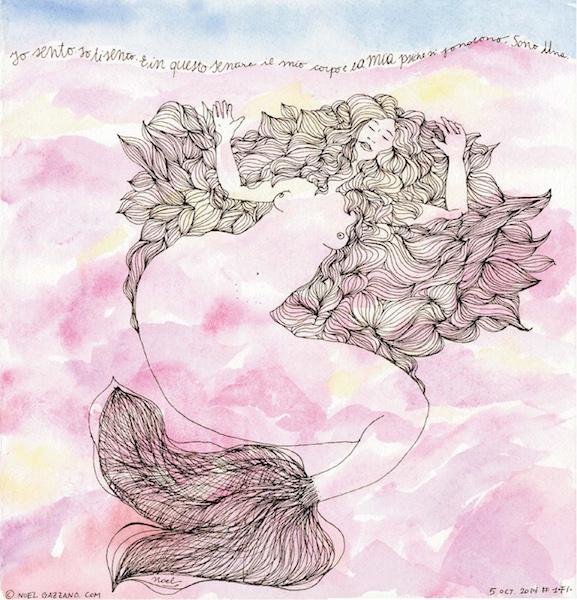 Noel Gazzano (2014) Un Anno da Sirene - A Mermaid Year (August). Ink and watercolor on paper.