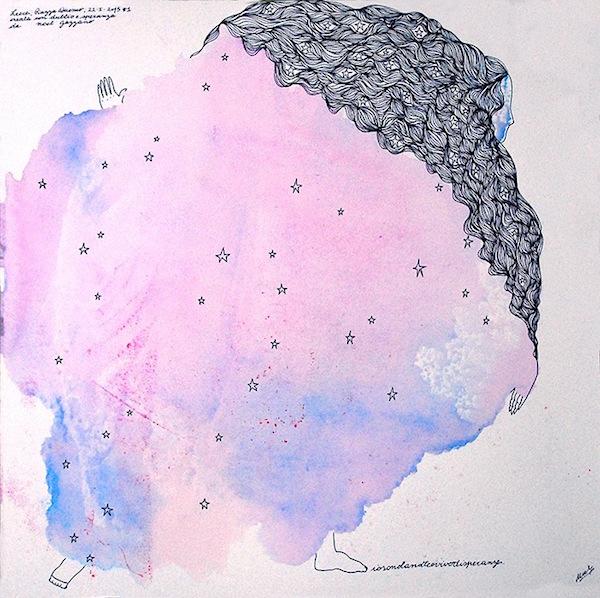Noel Gazzano (2015) Io Sono la Notte e Vivo di Speranza.Tecnica mista su carta, 30x30cm