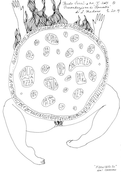 Noel Gazzano (2015) Pizza. Ink on paper.